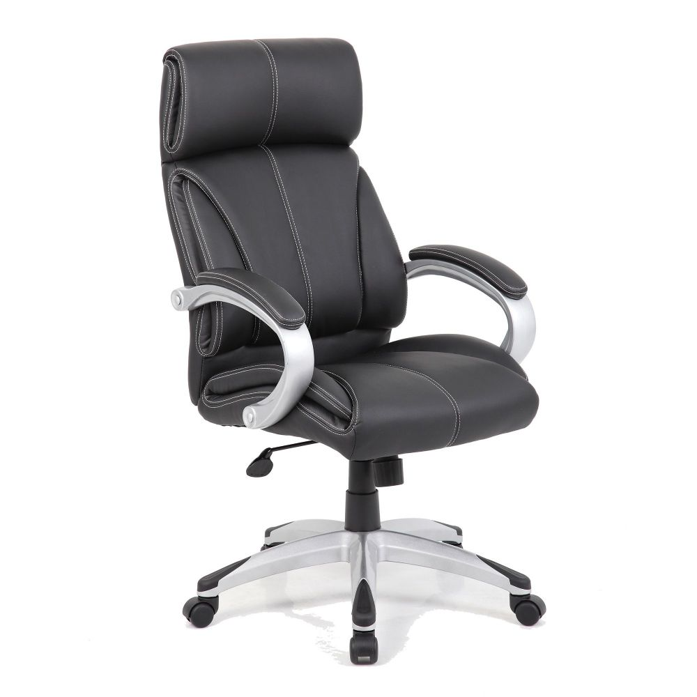Cloud Black Leather Faced Executive Chair, Integrated Headrest Managers Chair. Eliza Tinsley